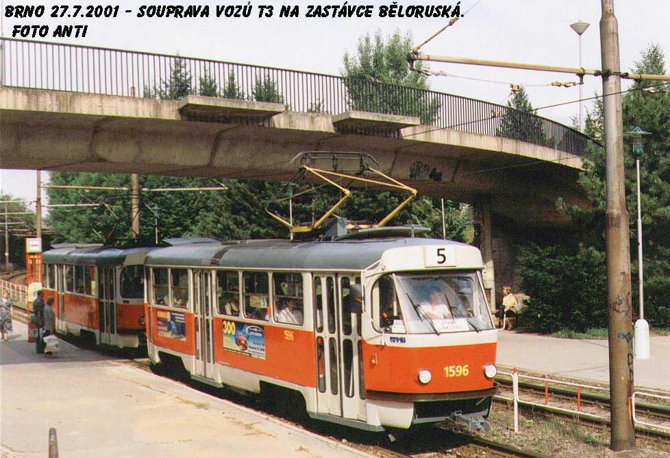 Fotogalerie » ČKD Tatra T3 1596   Brno   Bohunice   Běloruská