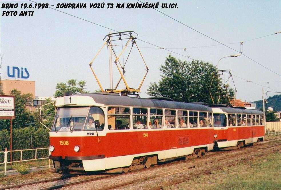 Fotogalerie » ČKD Tatra T3 1508 | ČKD Tatra T3 1506 | Brno | Komín | Kníničská