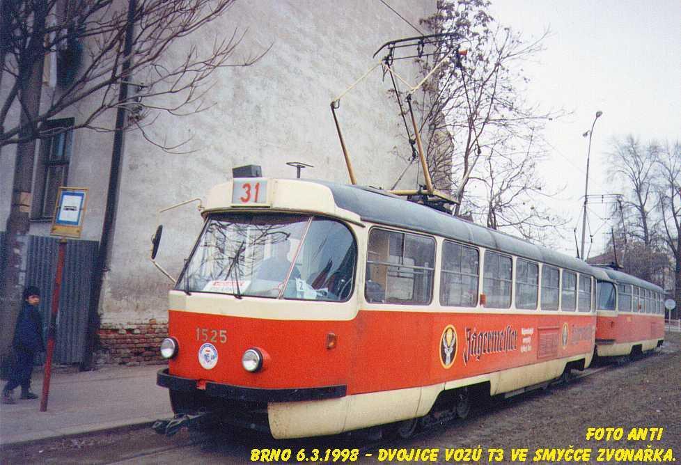 Fotogalerie » ČKD Tatra T3 1525 | Brno | Trnitá | Zvonařka, smyčka