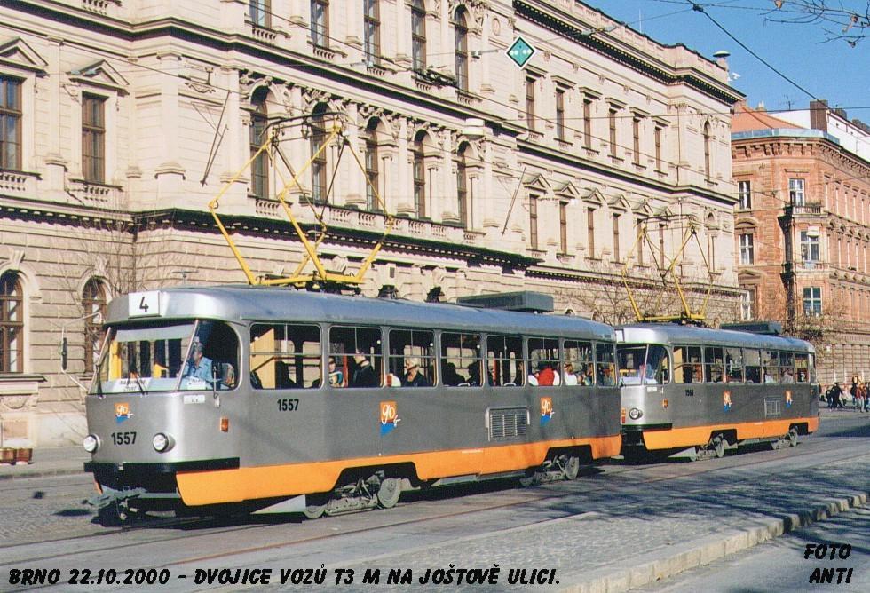 Fotogalerie » ČKD Tatra T3M 1557 | ČKD Tatra T3M 1561 | Brno | střed | Joštova