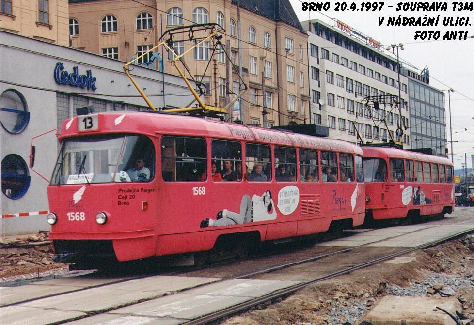 Fotogalerie » ČKD Tatra T3M 1568 | ČKD Tatra T3M 1566 | Brno | střed | Nádražní