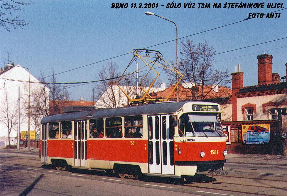 Fotogalerie » ČKD Tatra T3M 1581 | Brno | Ponava | Štefánikova