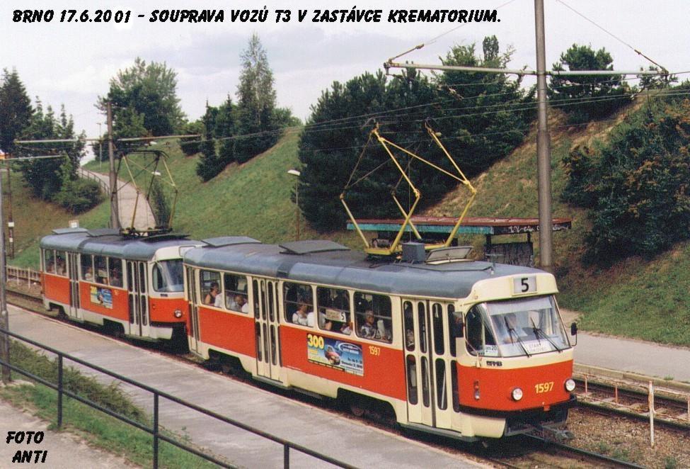 Fotogalerie » ČKD Tatra T3 1597   Brno   Bohunice   Krematorium