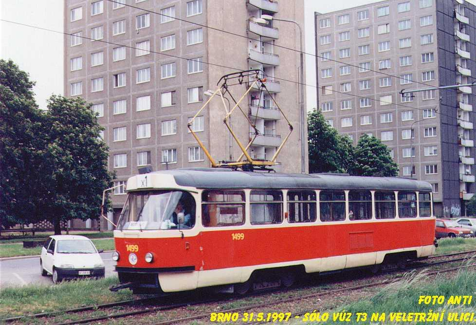 Fotogalerie » ČKD Tatra T3 1499 | Brno | Staré Brno | Veletržní