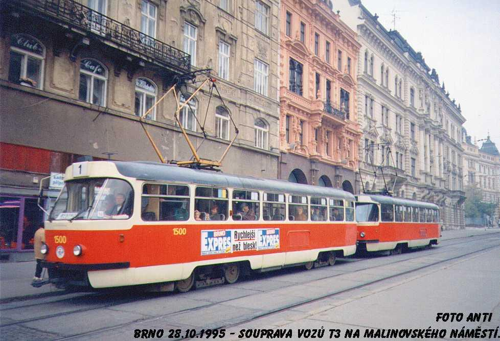 Fotogalerie » ČKD Tatra T3 1500   Brno   střed   Malinovského náměstí   Malinovského náměstí