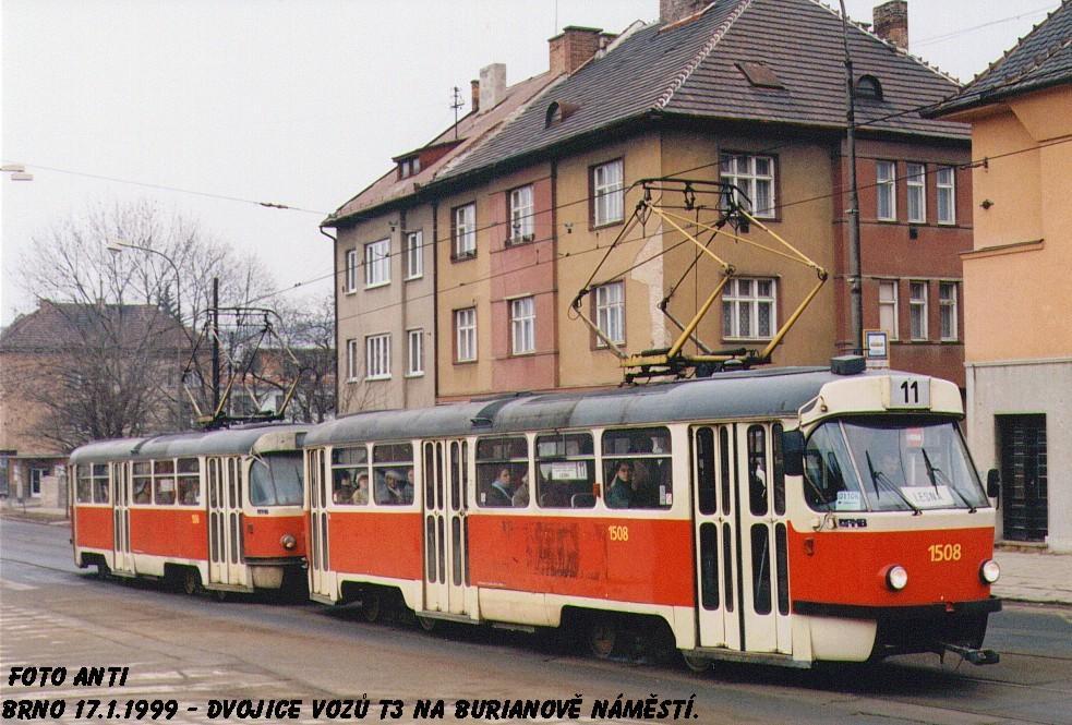 Fotogalerie » ČKD Tatra T3 1508 | ČKD Tatra T3 1506 | Brno | Žabovřesky | Minská
