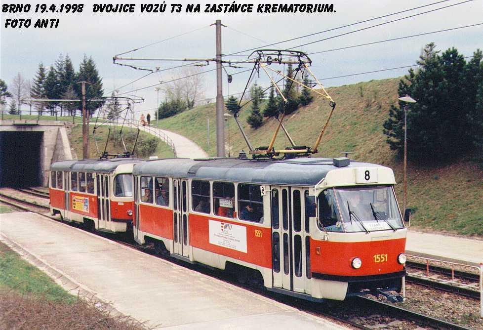 Fotogalerie » ČKD Tatra T3 1551   ČKD Tatra T3 1552   Brno   Bohunice   Krematorium