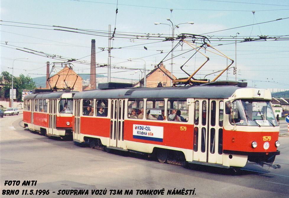 Fotogalerie » ČKD Tatra T3M 1579   Brno   Husovice   Tomkovo náměstí