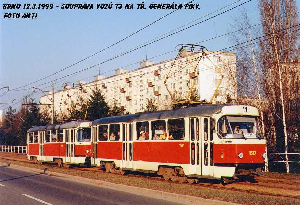 Fotogalerie » ČKD Tatra T3 1517 | Brno | Lesná | třída Generála Píky