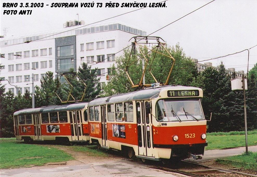Fotogalerie » ČKD Tatra T3 1523 | ČKD Tatra T3 1528 | Brno | Lesná