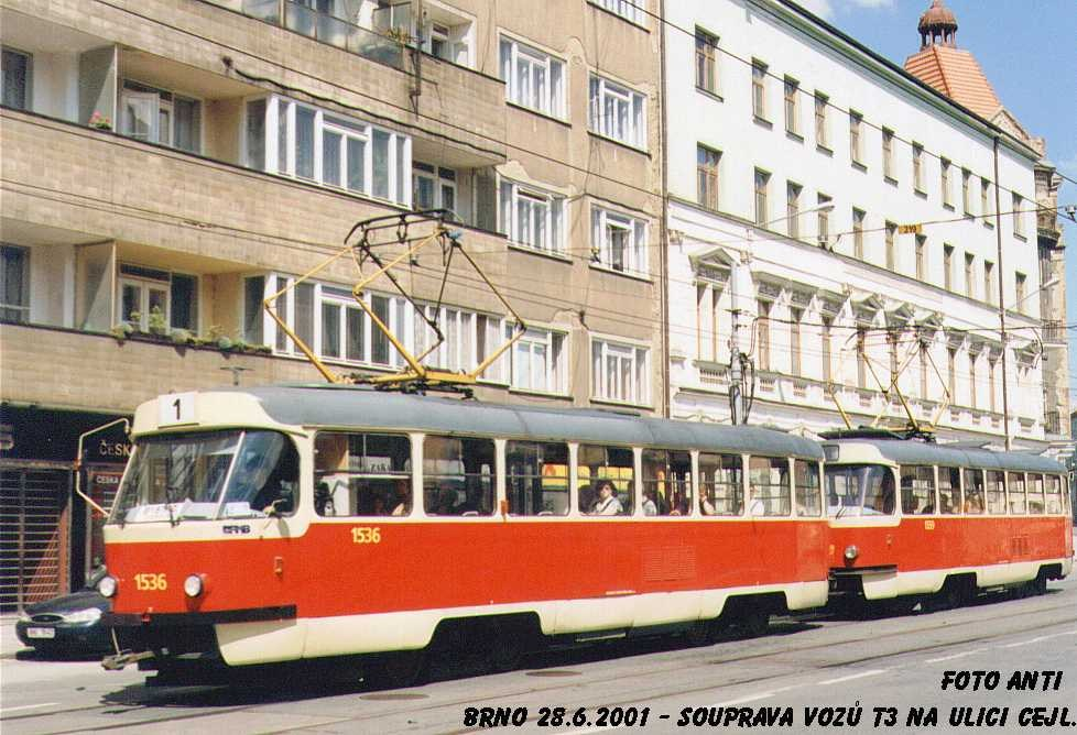 Fotogalerie » ČKD Tatra T3 1536 | Brno | Zábrdovice | Cejl