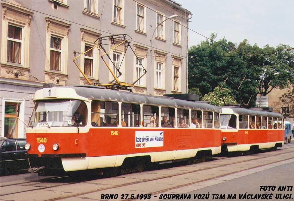 Fotogalerie » ČKD Tatra T3M 1540   Brno   Staré Brno   Václavská