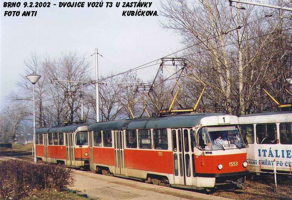 Fotogalerie » ČKD Tatra T3 1553 | ČKD Tatra T3 1554 | Brno | Bystrc | Kubíčkova