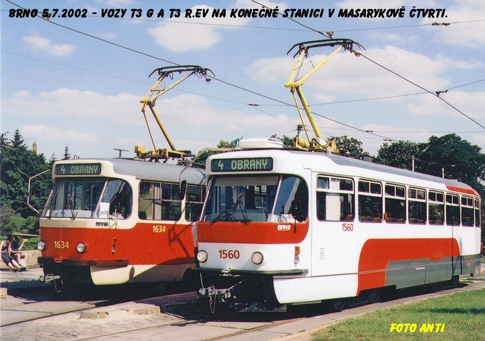 Fotogalerie » Pragoimex T3R.EV 1560 | ČKD Tatra T3G 1634 | Brno | Masarykova čtvrť | náměstí Míru | Náměstí Míru, smyčka