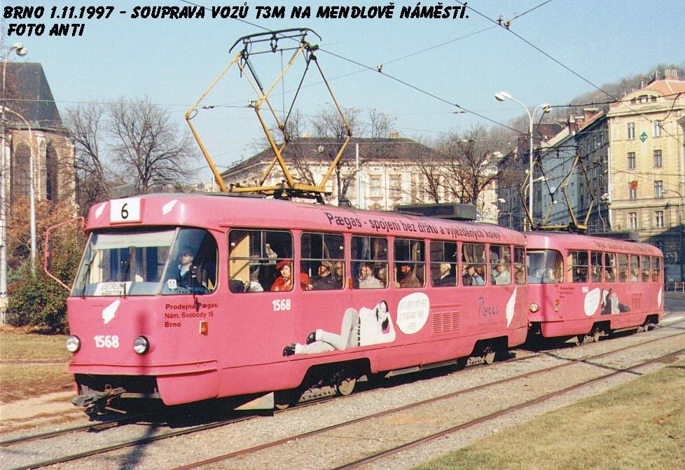 Fotogalerie » ČKD Tatra T3M 1568 | ČKD Tatra T3M 1566 | Brno | Staré Brno | Mendlovo náměstí