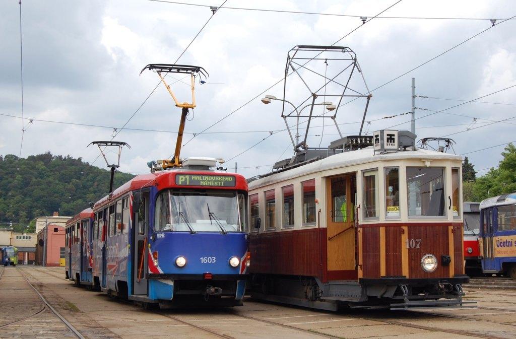 Fotogalerie » ČKD Tatra T3R.PV 1603 | KPS Brno mv6.3 107 | Brno | vozovna Pisárky