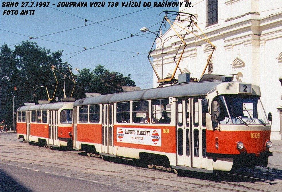 Fotogalerie » ČKD Tatra T3G 1608 | ČKD Tatra T3G 1606 | Brno | střed | Moravské náměstí