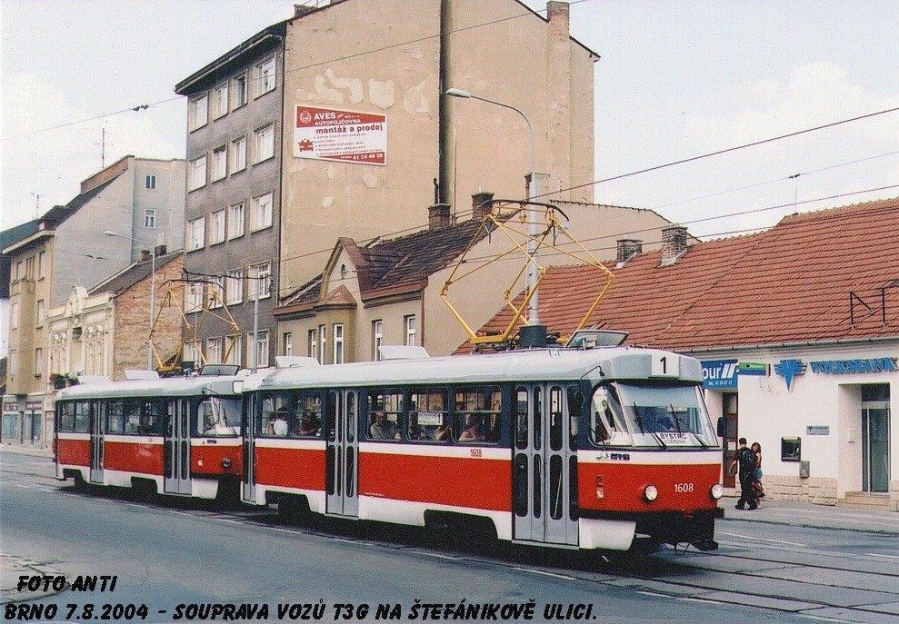Fotogalerie » ČKD Tatra T3G 1608 | ČKD Tatra T3G 1606 | Brno | Ponava | Štefánikova