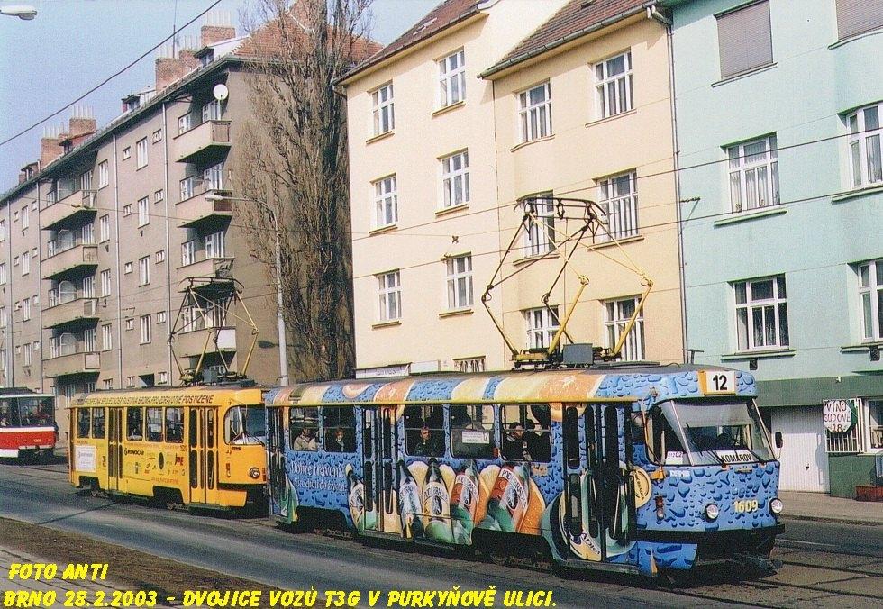 Fotogalerie » ČKD Tatra T3G 1609 | ČKD Tatra T3G 1621 | Brno | Královo Pole | Purkyňova