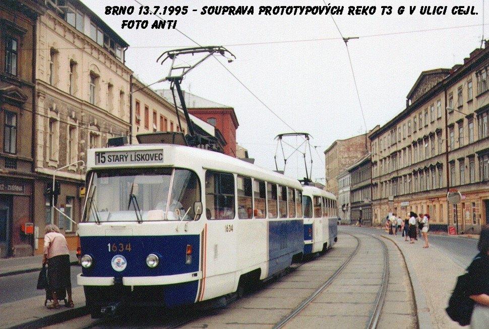 Fotogalerie » ČKD Tatra T3G 1634 | ČKD Tatra T3G 1616 | Brno | Zábrdovice | Cejl | Tkalcovská