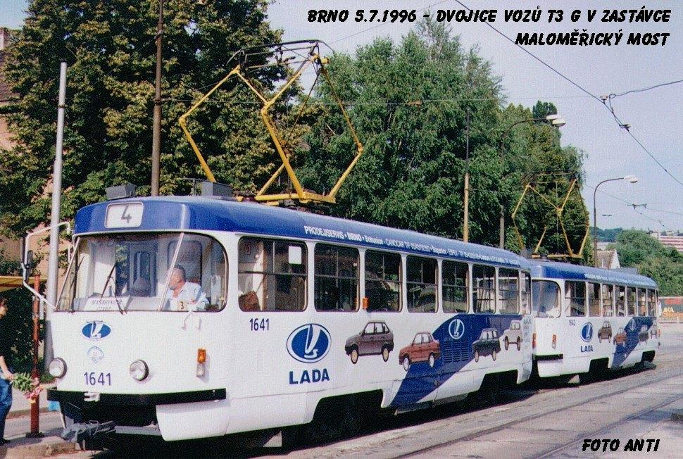Fotogalerie » ČKD Tatra T3G 1641   ČKD Tatra T3G 1642   Brno   Maloměřice   Dolnopolní   Maloměřický most