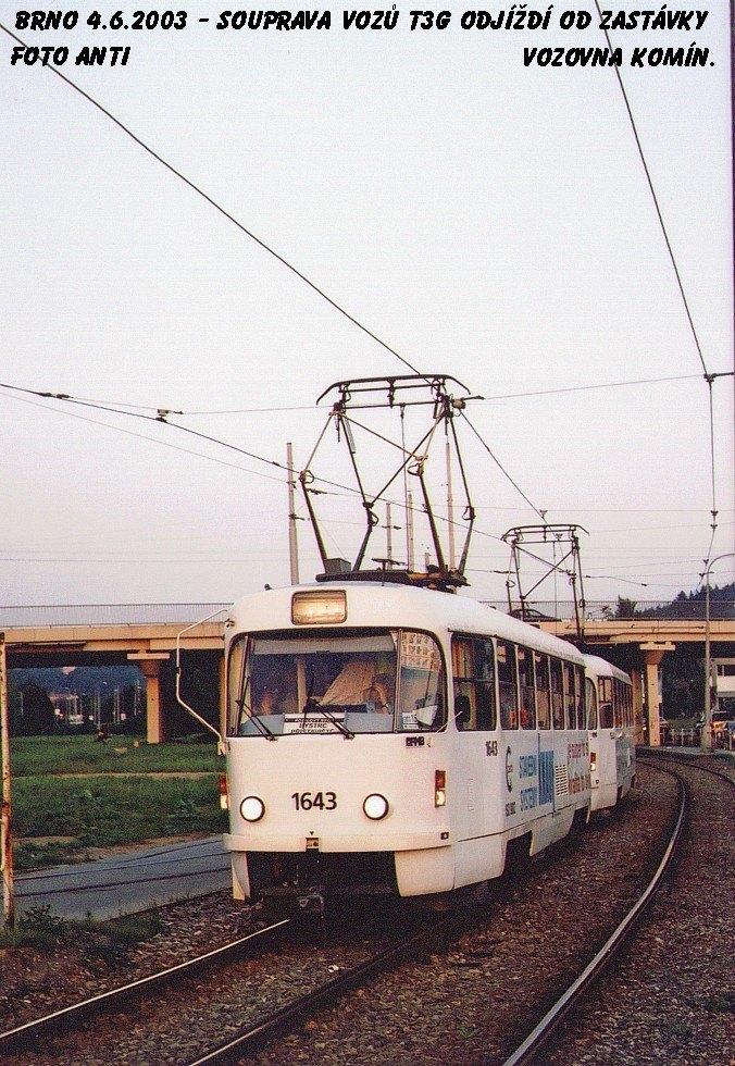 Fotogalerie » ČKD Tatra T3G 1643 | Brno | Komín | Kníničská | Vozovna Komín
