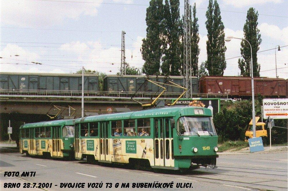 Fotogalerie » ČKD Tatra T3G 1649 | ČKD Tatra T3G 1650 | Brno | Židenice | Bubeníčkova