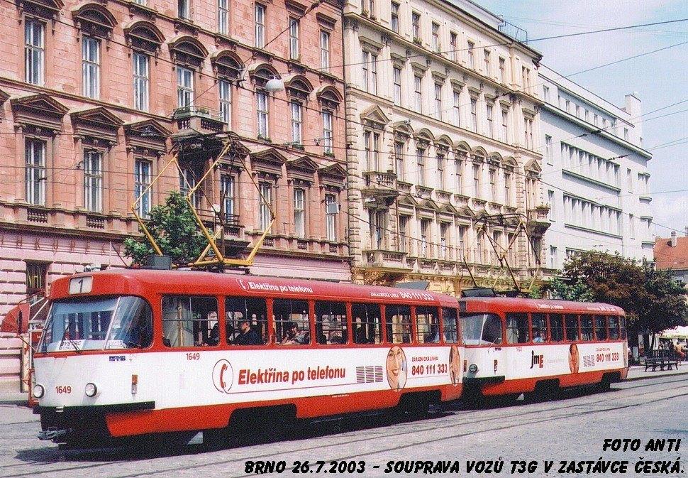 Fotogalerie » ČKD Tatra T3G 1649 | ČKD Tatra T3G 1650 | Brno | střed | Joštova | Česká