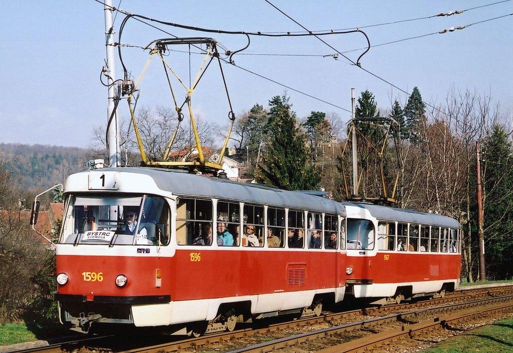 Fotogalerie » ČKD Tatra T3 1596 | ČKD Tatra T3 1567 | Brno | Komín | Kníničská