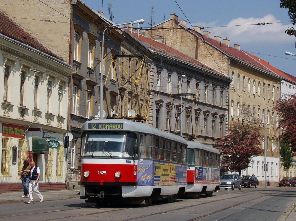 Fotogalerie » ČKD Tatra T3 1525 | ČKD Tatra T3 1528 | Brno | Trnitá | Dornych | Svatopetrská
