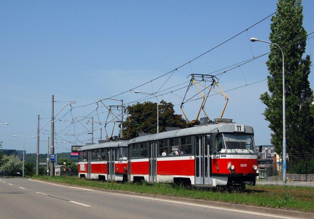 Fotogalerie » ČKD Tatra T3G 1608 | ČKD Tatra T3G 1606 | Brno | Černá Pole | třída Generála Píky