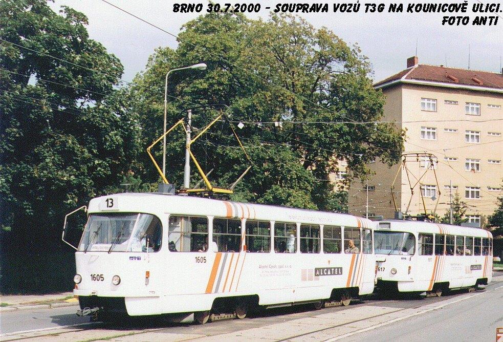 Fotogalerie » ČKD Tatra T3G 1605 | ČKD Tatra T3G 1617 | Brno | Královo Pole | Kounicova