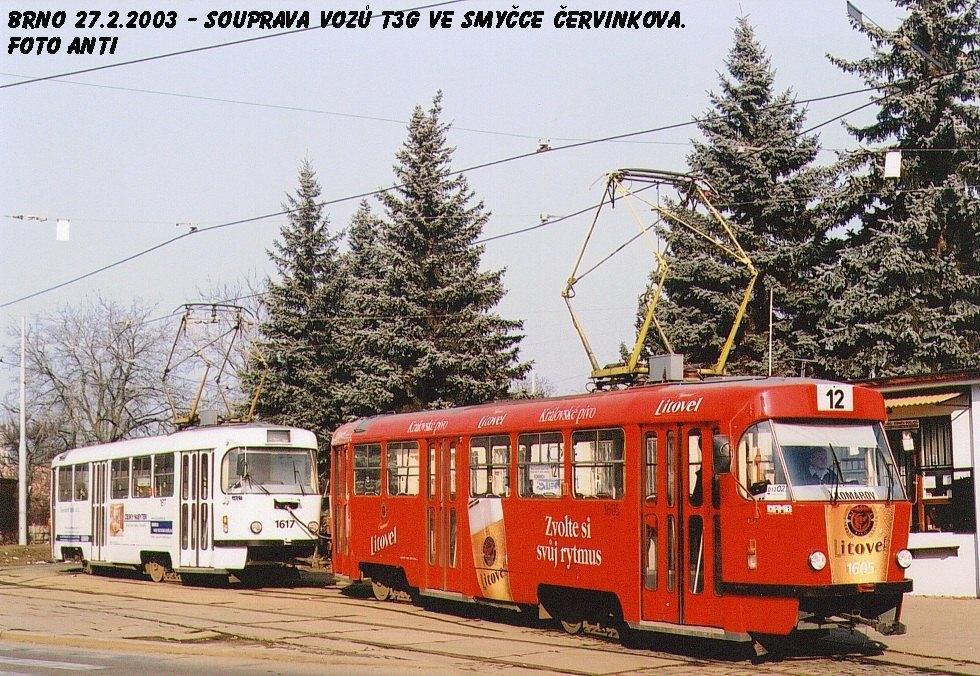 Fotogalerie » ČKD Tatra T3G 1605 | ČKD Tatra T3G 1617 | Brno | Královo Pole | Purkyňova | Červinkova, smyčka