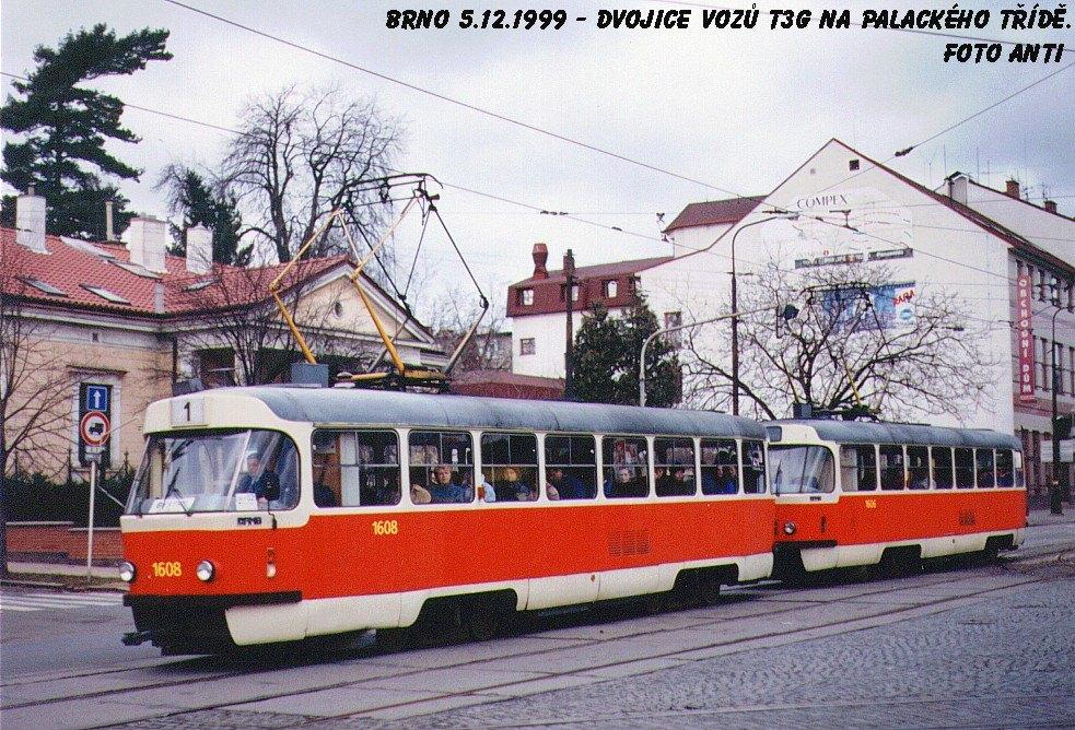 Fotogalerie » ČKD Tatra T3G 1608 | ČKD Tatra T3G 1606 | Brno | Královo Pole | Palackého