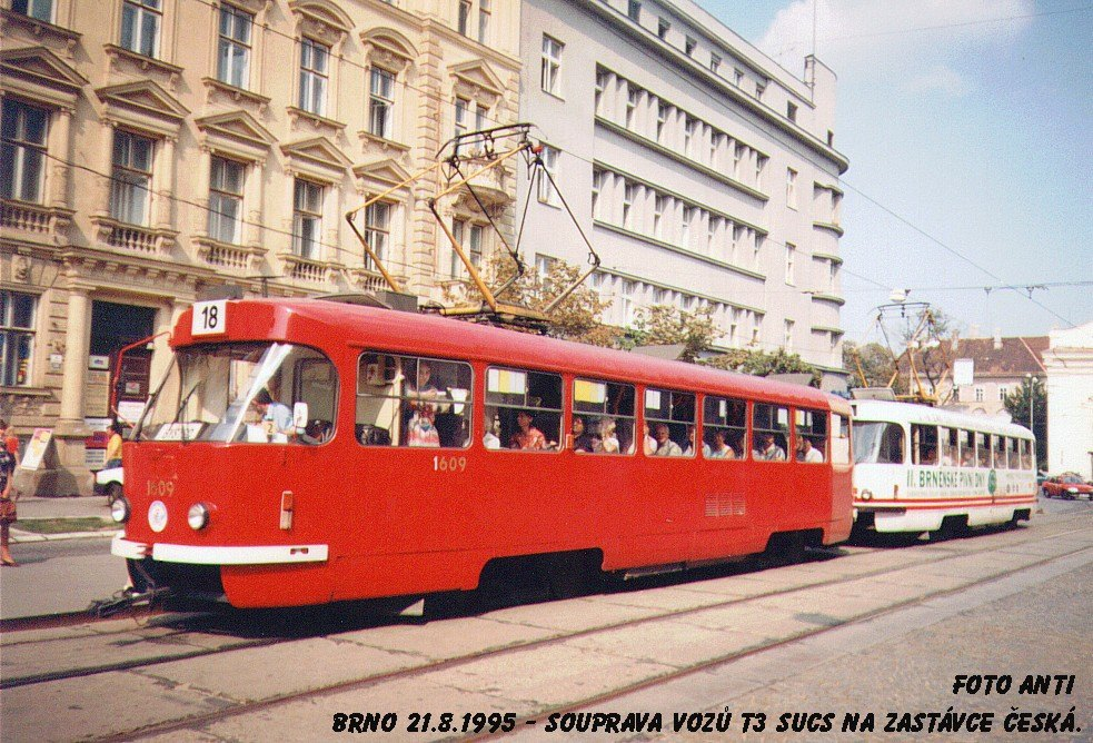 Fotogalerie » ČKD Tatra T3SUCS 1609 | ČKD Tatra T3SUCS 1619 | Brno | střed | Joštova | Česká