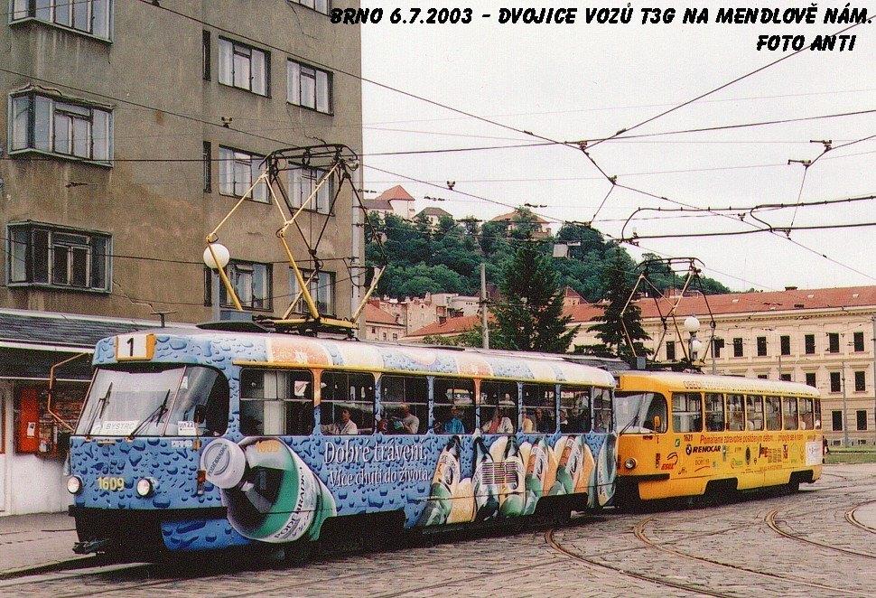 Fotogalerie » ČKD Tatra T3G 1609 | ČKD Tatra T3G 1621 | Brno | Staré Brno | Mendlovo náměstí | Mendlovo náměstí