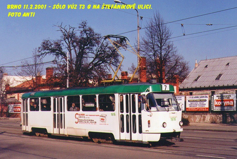 Fotogalerie » ČKD Tatra T3G 1616 | Brno | Ponava | Štefánikova