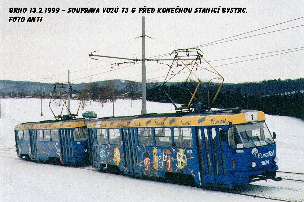 Fotogalerie » ČKD Tatra T3SUCS 1624 | ČKD Tatra T3SUCS 1625 | Brno | Bystrc
