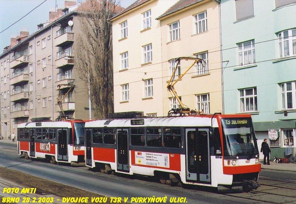 Fotogalerie » ČKD DS T3R 1667 | ČKD DS T3R 1668 | Brno | Královo Pole | Purkyňova