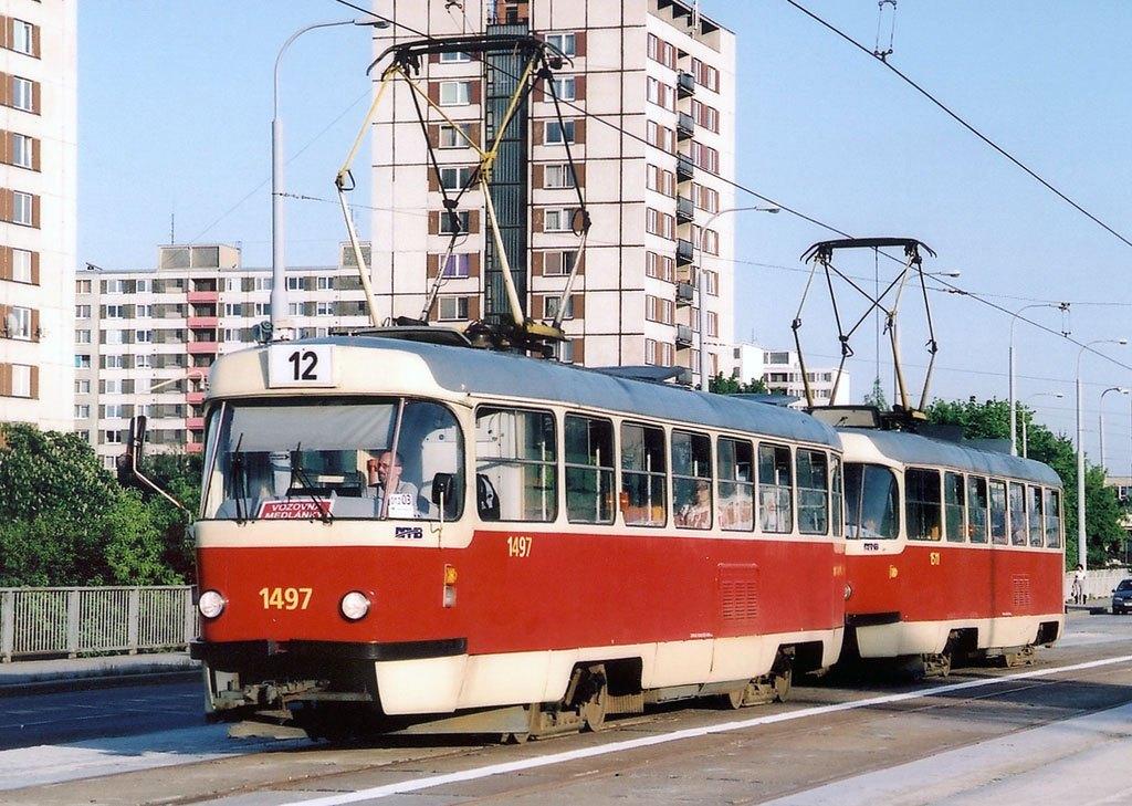Fotogalerie » ČKD Tatra T3 1497 | ČKD Tatra T3 1511 | Brno | Královo Pole | Kuřimská