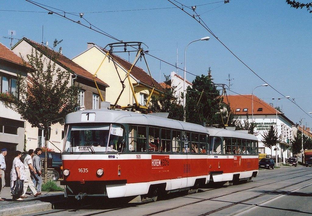 Fotogalerie » ČKD Tatra T3G 1635 | ČKD Tatra T3G 1636 | Brno | Řečkovice | Bánskobystrická | Filkukova