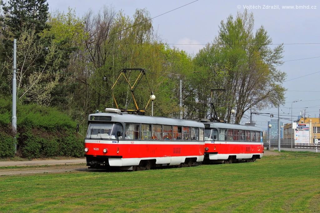 Fotogalerie » ČKD Tatra T3P 1620 | ČKD Tatra T3P 1589 | Brno | Horní Heršpice | Ústřední hřbitov, smyčka