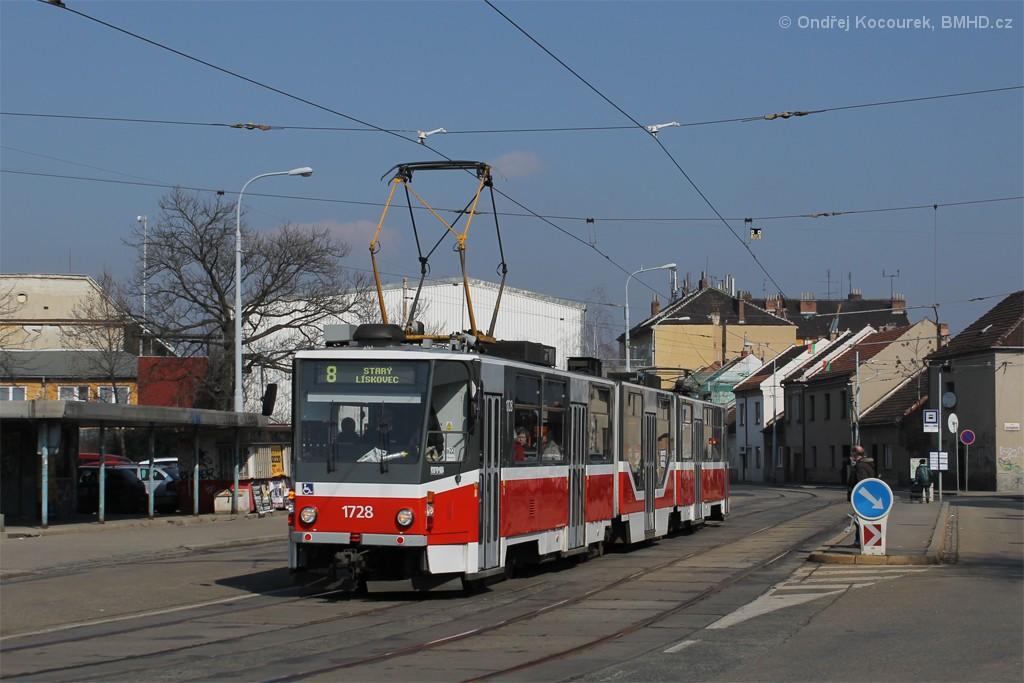 Fotogalerie » ČKD Tatra KT8D5R.N2 1728 | Brno | Černovice | Životského | Životského