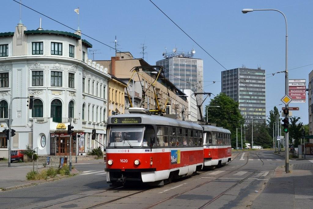 Fotogalerie » ČKD Tatra T3P 1620 | ČKD Tatra T3P 1589 | Brno | Žabovřesky | Minská | Tábor