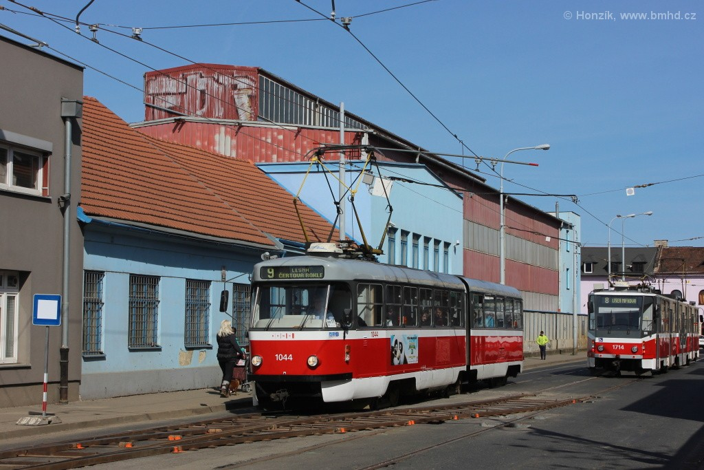 Fotogalerie » ČKD Tatra K2T 1044   Brno   Černovice   Životského
