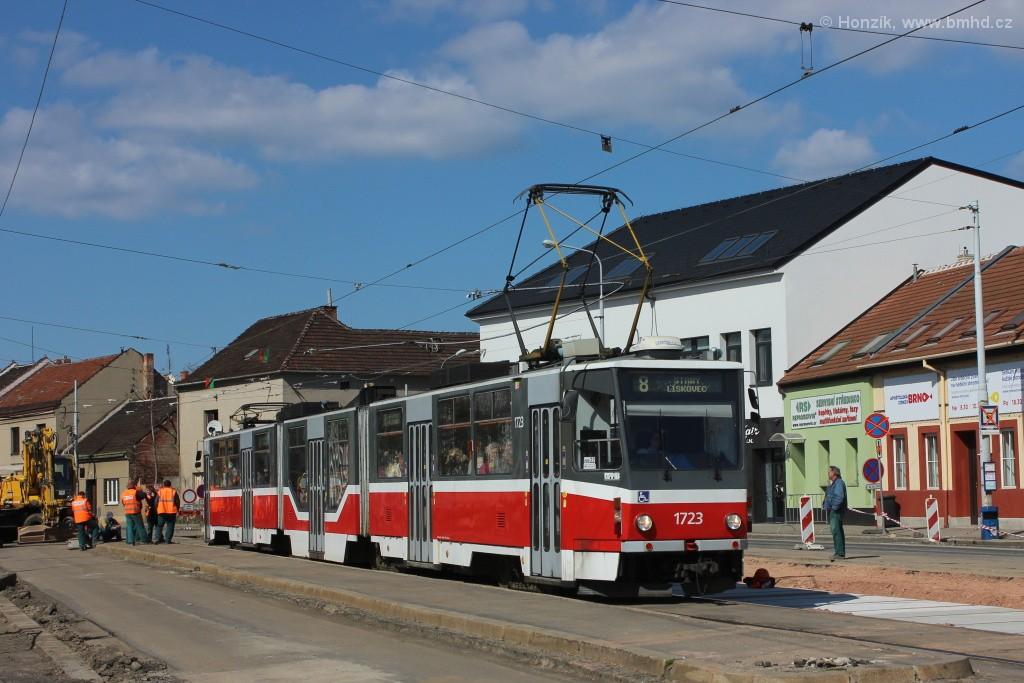 Fotogalerie » ČKD Tatra KT8D5R.N2 1723 | Brno | Černovice | Životského | Životského