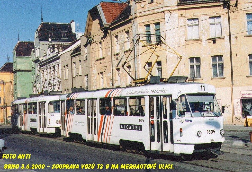 Fotogalerie » ČKD Tatra T3G 1605 | ČKD Tatra T3G 1617 | Brno | Černá Pole | Merhautova