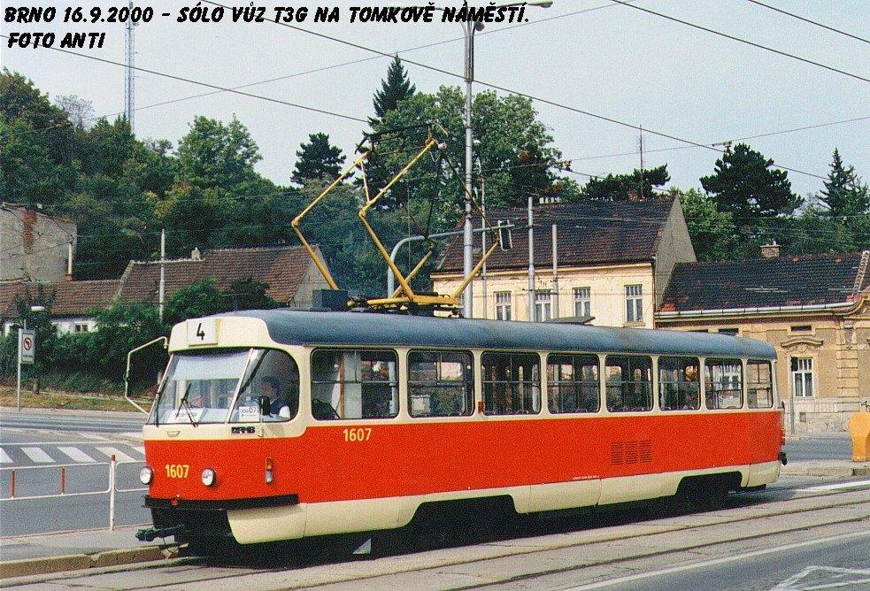 Fotogalerie » ČKD Tatra T3G 1607   Brno   Husovice   Tomkovo náměstí