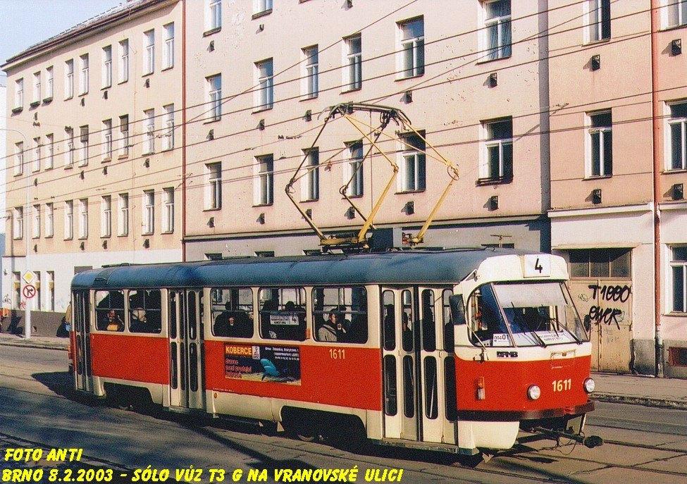 Fotogalerie » ČKD Tatra T3G 1611 | Brno | Zábrdovice | Vranovská