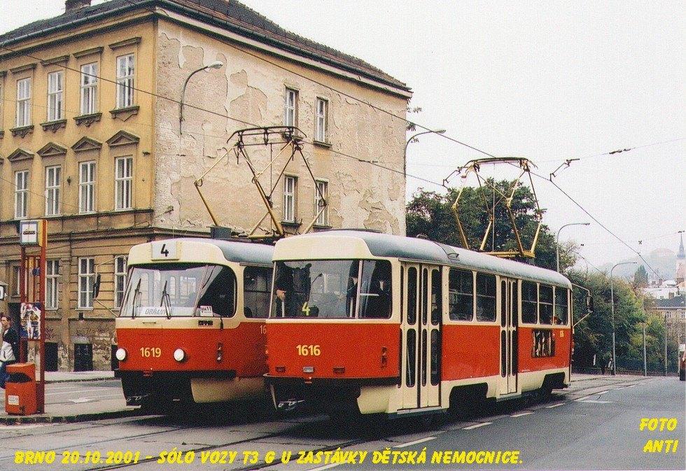 Fotogalerie » ČKD Tatra T3G 1616 | ČKD Tatra T3G 1619 | Brno | Černá Pole | Milady Horákové | Dětská nemocnice